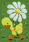 Archives Digital Art - Vintage Greeting. Ducky in the Rain with his Daisy Umbrella  by Pierpont Bay Archives