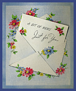 Archives Digital Art - Vintage Greeting. Flower surround a letter.  A bit of news just for you.  by Pierpont Bay Archives