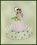 Pinky Ring Prints - Vintage Greeting.  Girl with basket of flowers in pink bonnet Print by Pierpont Bay Archives