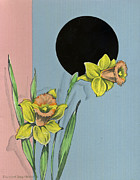 Easter Flowers Drawings Posters - Vintage Greeting. Yellow daffodil flowers  Poster by Pierpont Bay Archives