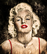 Lips Mixed Media Prints - Vintage Grunge Goddess Marilyn Monroe  Print by Zeana Romanovna