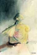Watercolour Canvas Paintings - Vintage Guerlain Mitsouko Perfume Bottle by Beverly Brown Prints