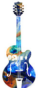 Musical Mixed Media Prints - Vintage Guitar - Colorful Abstract Musical Instrument Print by Sharon Cummings