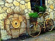 Rake Digital Art - Vintage Hay Rake and Bicycle Plant Basket at an Antique Shop by PAMELA Smale Williams