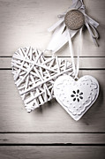 Ribbon Prints - Vintage hearts Print by Jane Rix