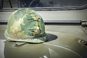 Olive Drab Prints - Vintage Helmet on Jeep Hood Print by Bradley Clay