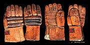 Goalie Prints - Vintage Hockey Gloves #1 Print by Spencer Hall