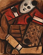 Hockey Prints Paintings - Vintage Hockey Goalie by Tommervik