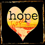 Motivational Art Mixed Media Prints - Vintage Hope Heart Print by Anahi DeCanio