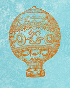 Hot Air Balloon Digital Art Prints - Vintage Hot Air Balloon Print by World Art Prints And Designs