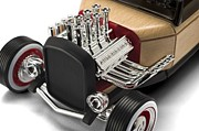 Chrome Prints - Vintage Hot Rod Engine Print by Sanely Great
