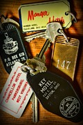 Hotel-room Photo Prints - Vintage Hotel Keys Print by Paul Ward
