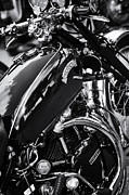 Biking Framed Prints - Vintage HRD Vincent Series D Monochrome Framed Print by Tim Gainey