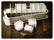 Vintage Metal Prints - Vintage Ice Cubes Metal Print by Edward Fielding