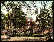 Hall Digital Art Prints - Vintage Independence Hall 1900 Colorized Print by Unknown