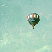 Floating Girl Art - Vintage Inspired Hot Air Balloon in Red White and Blue by Brooke Ryan