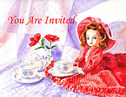 Tea Cups Paintings - Vintage Invitation by Irina Sztukowski