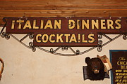 Italian Restaurant Prints - Vintage Italian Dinners Cocktails Sign In The Cellar Room At the Swiss Hotel In Sonoma California 5D Print by Wingsdomain Art and Photography