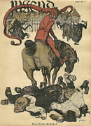 Neutral Drawings Posters - Vintage Jugend Magazine Cover Poster by Konni Jensen