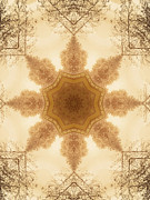 Parchment Prints - Vintage Kaleidoscope Background Print by Wim Lanclus