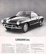 Enjoying Digital Art Posters - Vintage Karmann Ghia Advert Poster by Nomad Art And  Design