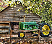Farming Barns Photo Prints - Vintage Print by Kenny Francis