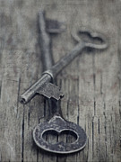 Blue Grey Prints - Vintage Keys Print by Priska Wettstein