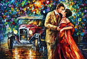 Night Out Painting Prints - Vintage Kiss Print by Leonid Afremov