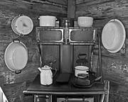 Vintage Kitchen And Wood Stove Print by Valerie Garner