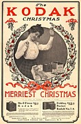 Camera Posters - Vintage Kodak Christmas Card Poster by Edward Fielding