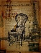 Vintage Lace Stiletto Rococo Chair Chandelier Paris Eiffel Tower Print by Cranberry Sky