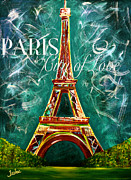 Teshia Art Acrylic Prints - Vintage Lamour a Paris Moonlight Acrylic Print by Teshia Art