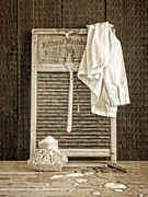 Folk Art Prints Posters - Vintage Laundry Room Poster by Edward Fielding