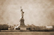 Photography Statue Photography Framed Prints - Vintage Liberty Island Framed Print by RicardMN Photography