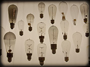Edison Digital Art Posters - Vintage Light Bulbs Poster by Sarah Stone