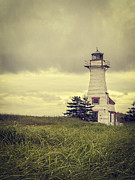 Storm Framed Prints - Vintage Lighthouse PEI Framed Print by Edward Fielding