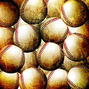 Baseball Closeup Photo Metal Prints - Vintage Look Baseballs Metal Print by Andee Photography