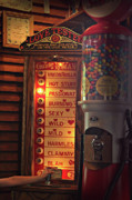 Wooden Paneling Prints - Vintage Love Tester and Gum Ball Machines Print by Linda Phelps