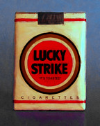 Cigarette Case Framed Prints - Vintage Lucky Strike Cigarette - Painterly - v1 Framed Print by Wingsdomain Art and Photography