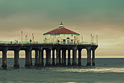 Surf Silhouette Metal Prints - Vintage Manhattan Beach Pier Metal Print by Kim Hojnacki