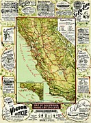 California Map Framed Prints - Vintage Map for California Cyclists Framed Print by Benjamin Yeager