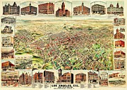 America City Map Posters - Vintage Map of Los Angeles Poster by Benjamin Yeager