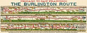 Bnsf Framed Prints - Vintage Map of the Burlington Rail Route Framed Print by Benjamin Yeager