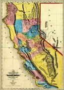 California Map Framed Prints - Vintage Map of the California Gold Rush Framed Print by Benjamin Yeager