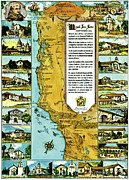 California Map Framed Prints - Vintage Map of the California Missions Framed Print by Benjamin Yeager
