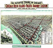 America City Map Prints - Vintage Map of the Chicago L Print by Benjamin Yeager