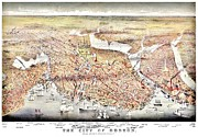 Boston Framed Prints - Vintage Map of the City of Boston Framed Print by Benjamin Yeager