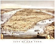 New York Map Framed Prints - Vintage Map of the City of New York Framed Print by Benjamin Yeager