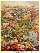 Montana State Map Metal Prints - Vintage Map of Yellowstone National Park Metal Print by Edward Fielding