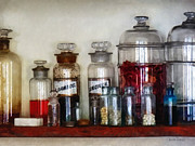Pills Prints - Vintage Medicine Bottles Print by Susan Savad